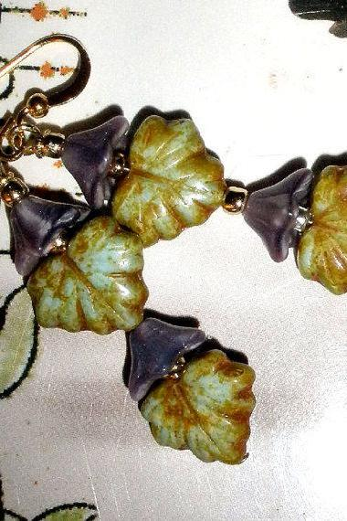 FREE SHIPPING Gorgeous leaf and flower earings Czech glass in lilac and dusty green