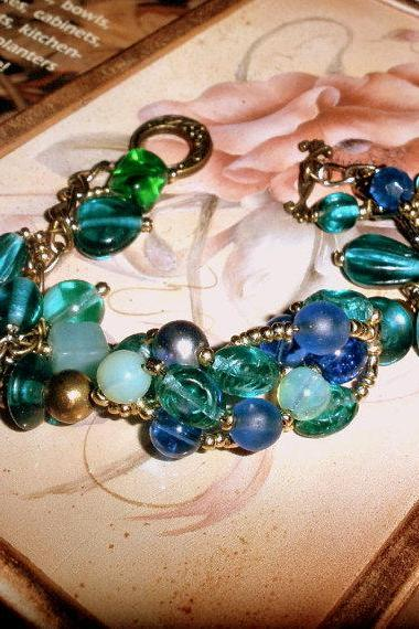 Blue green bracelet - woven wire - one of a kind