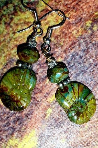 Beach jewelry earrings- czech glass fossil shells and beads with silver plate