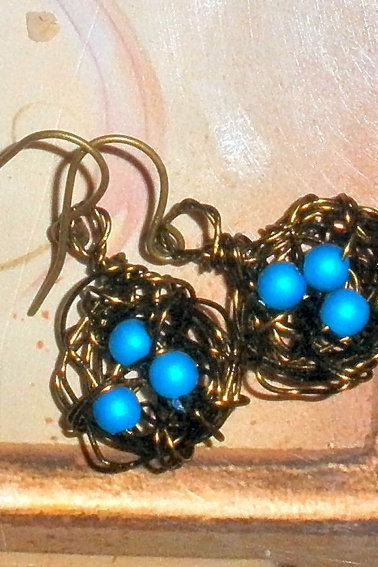 Birds nest earrings - bronze wire with bronze earwires