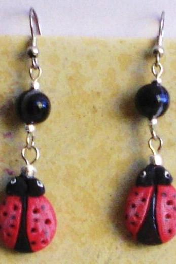 Lady Bug earrings with genuine black agate