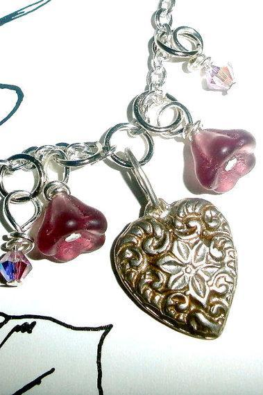Silver heart necklace with Czech glass and Swarovski crystals