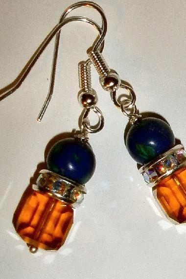 rhinestone Lapis earrings with Swarovski crystals