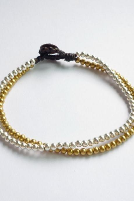 Silver and Gold Line - Double Strands of Silver Plated Beads and Brass Beads with Wax Cord Bracelet - Customized Bracelet - Gift under 10