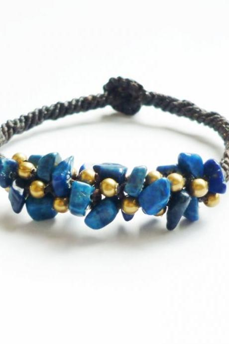 Deep Blue Sea - Cluster of Navy Blue Lapis Lazuli Stone Chip Beads and Brass Beads Bracelet - Gift under 15