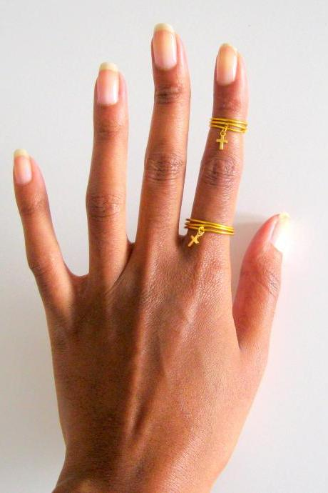 First and Second Knuckle Ring Set with Gold cross