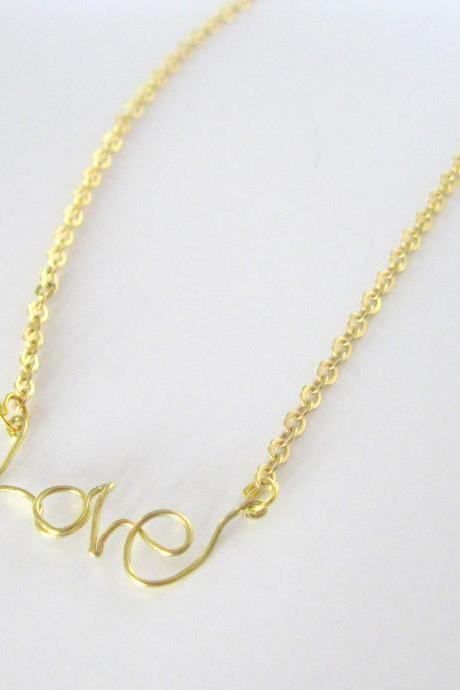 Gold Necklace with Love pendant, Choker, 16k gold plated