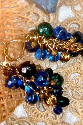 Beaded cluster earrings in royal blue, green, and gold