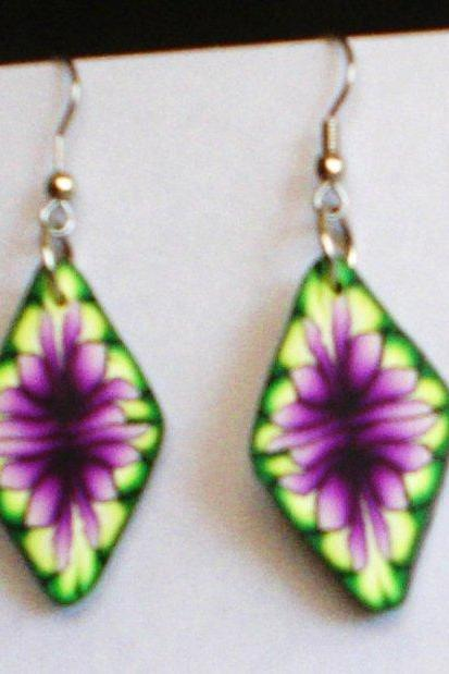 GORGEOUS floral earrings polymer clay Wild flower design