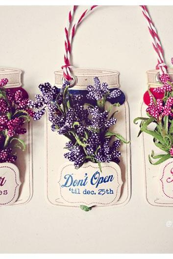 Christmas flower jar tags