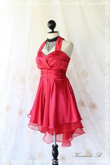 Cinderella Story II Goddess Cocktail Dress Asymmetric Hem Burgundy Satin Color Longer Organza Lining S