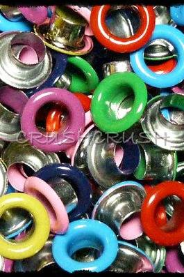 100pcs Mixed Colors 3/16' Round EYELET Scrapbooking CARD Hole Craft Kit E097