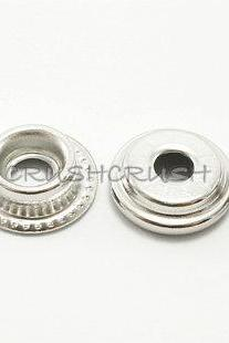 10sets 9/16' Cap - Ring Spring Snap Buttons Fastener Silver-V4715