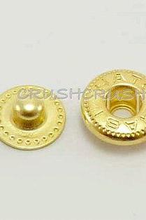 20sets 3/8' Cap - Snap Buttons Fastener Gold- V2010