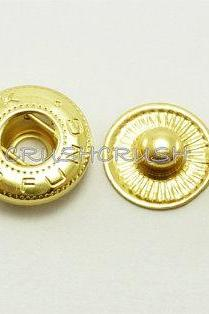 10sets 1/2' Cap - Press Snap Buttons Fastener Gold-V0513