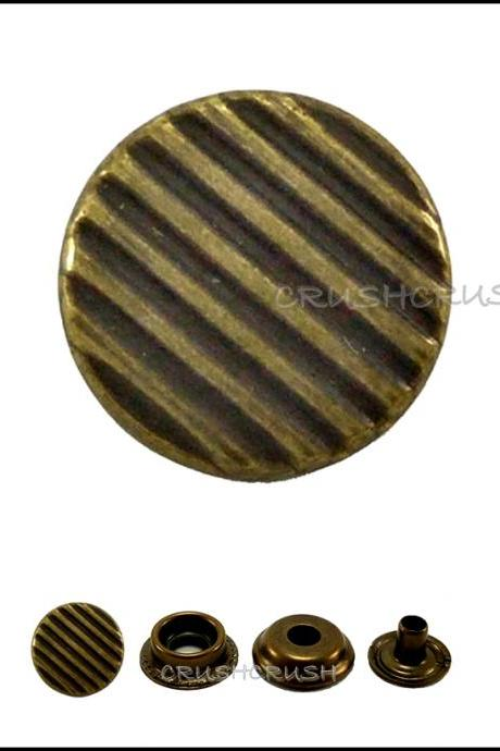 10sets 9/16' Cap - Ring Snap Buttons Fastener Made From Brass -- V9515