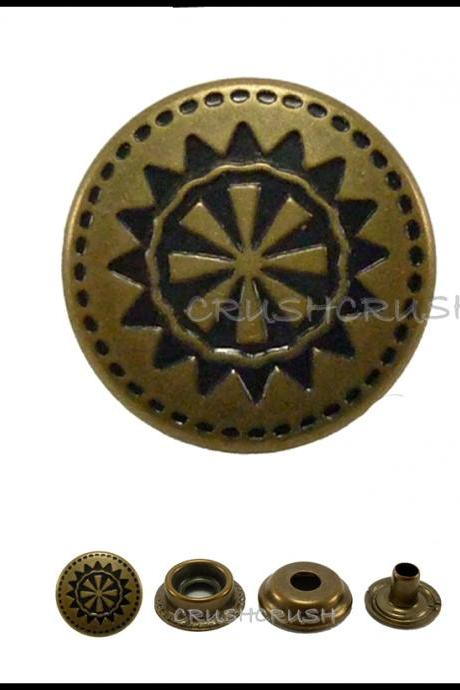 10sets 9/16' Cap - Ring Snap Buttons Fastener Made From Brass -- V9415