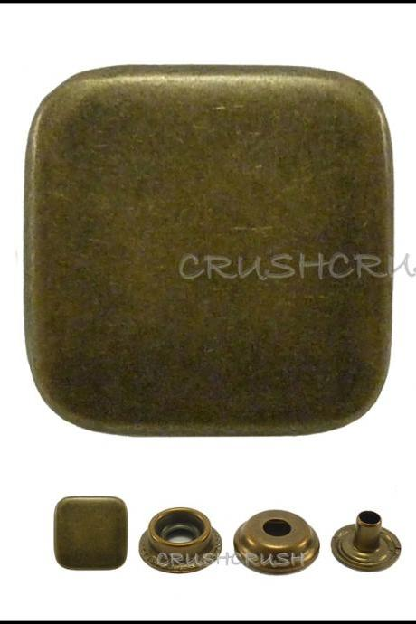 10sets 17/32' Flat Square Cap Ring Snap Buttons Fastener Made Of Brass--V9214