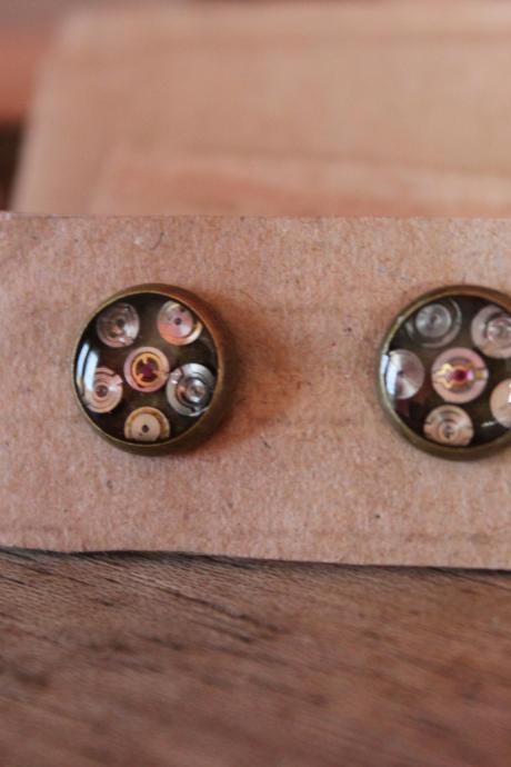 Minimal earrings from vintage watch parts