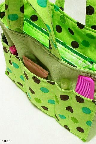Inner Bag Organizer with Handles - Vivid Green Polka Dot
