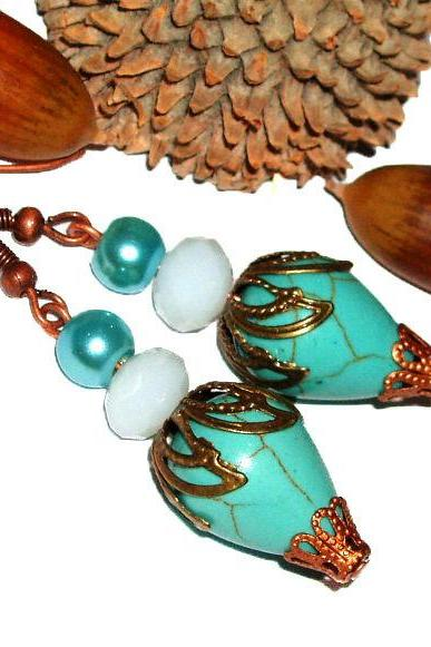 BUY 4 - GET 1 pair earrings FREE..Beautiful turquoise stone brass filigree unique dangle earrings- vintage look, cheap affordable gift