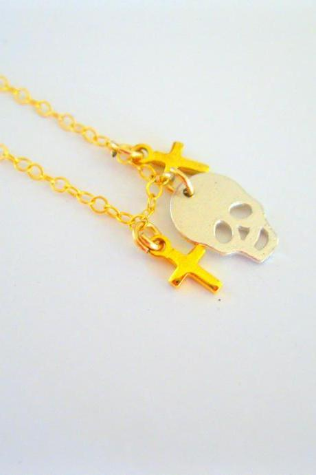 14k gold filled necklace with Tiny Skull