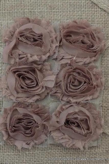 Six Shabby Chic Fabric Flowers - Chocolate Mocha (Brown)
