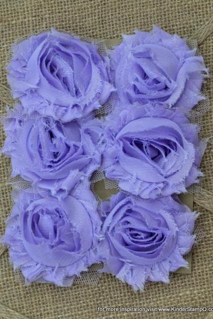 Six Shabby Chic Flowers - Lavender (light purple)