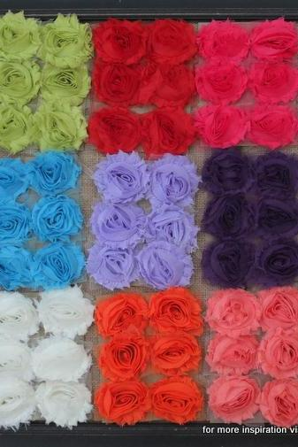 90 Shabby Chic Flower - 15 colors (6 of each)