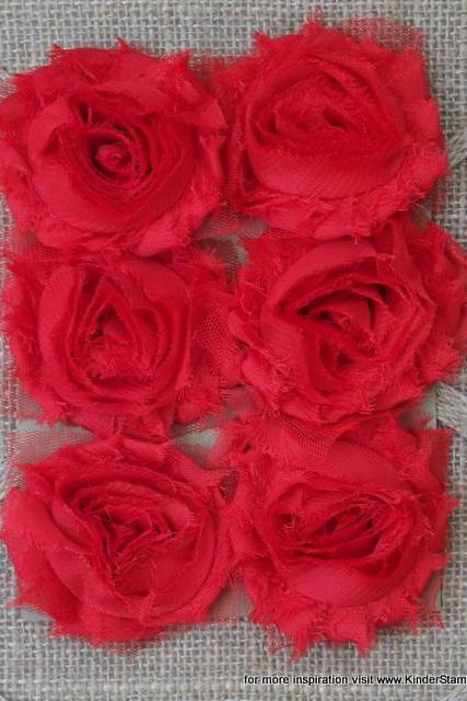 Six Shabby Chic Flowers - Love (Red)