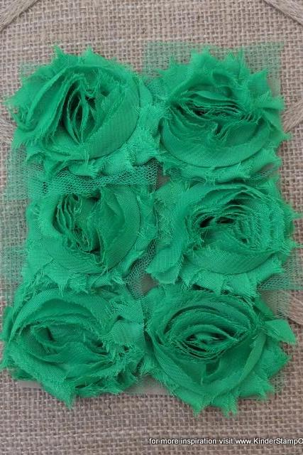 Six Shabby Chic Flowers - Lucky (Green)
