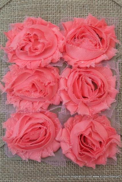 Six Shabby Chic Flowers -Bubblegum (Coral)
