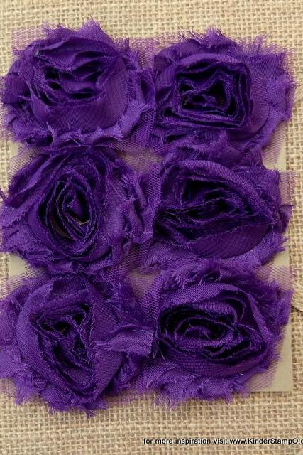 Six Shabby Chic Flowers - Grape Fizz (Purple)
