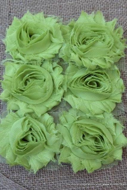 Six Shabby Chic Flowers - Lime Aid (lime green)