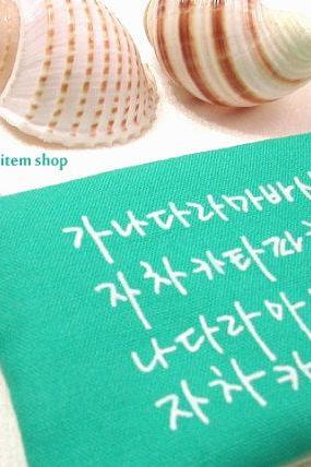 Korean Alphabet Key Chain Pouch - Coral Blue