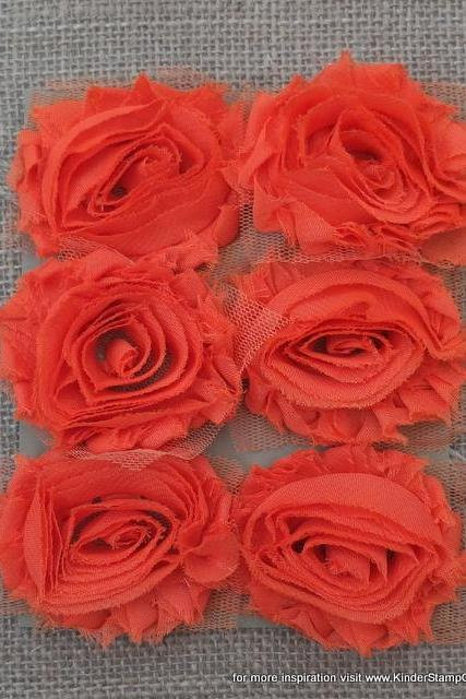 Six Shabby Chic Flowers - Tangerine (Orange)