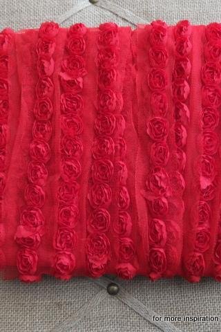 3 feet of Mini Shabby Chic Flower Trim - Love (Red)