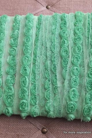 3 feet of Mini Shabby Chic Flower trim - Lime Aid (Lime Green)
