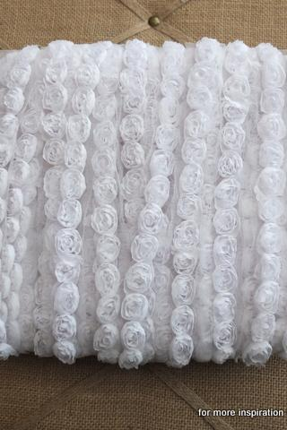 3 feet of Mini Shabby Chic Flower trim - Marshmallow (White)