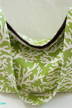 Tropical Green Coral Shoulder Bag/Hobo Purse/Slouchy Bag/Market Tote