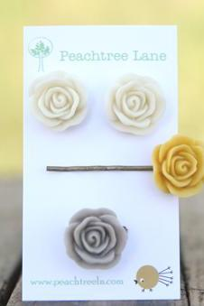 Mustard Yellow Flower Hairpin // Cream Ivory Rose Earrings // Grey Ring // Maid of Honor Gifts // Maid of Honor Gifts // Vintage Wedding