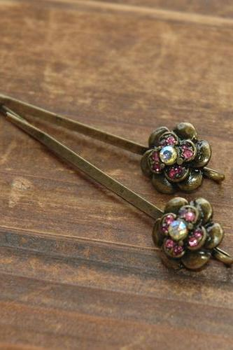 Red Rose Ruby Rhinestone Flower Bobby Pin