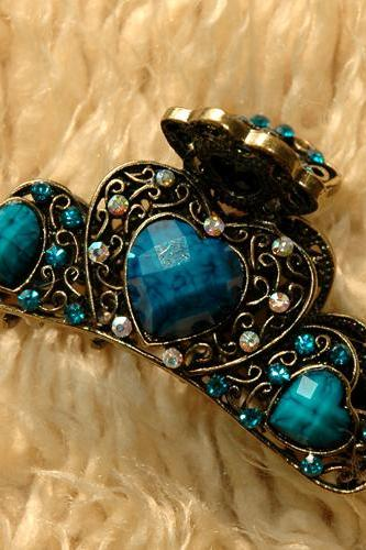 Teal Blue Stones and Rhinestone Filigree Claw Clip