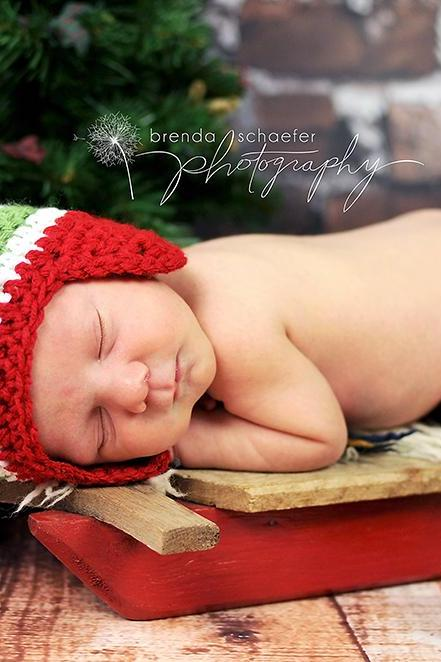 Christmas earflap hat for newborn baby boy - READY TO SHIP