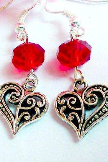 BUY 4 - GET 1 pair earrings FREE..Love red crystal antique silver heart charm valentine earrings- romantic elegant gift