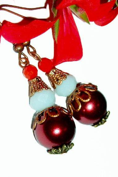BUY 4 - GET 1 pair earrings FREE..Dark red crystal white brass filigree dangle earrings.handmade by i.p.