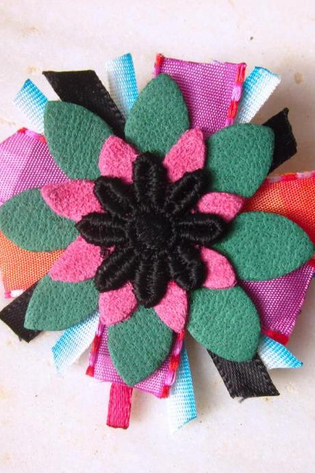 Leather ribbons lace flower brooch multicolor