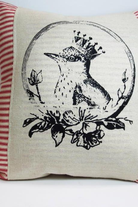 Decorative throw pillow cushion cover with black bird in a crown screen printed in black