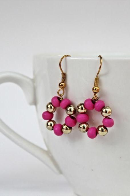golden - pink earings