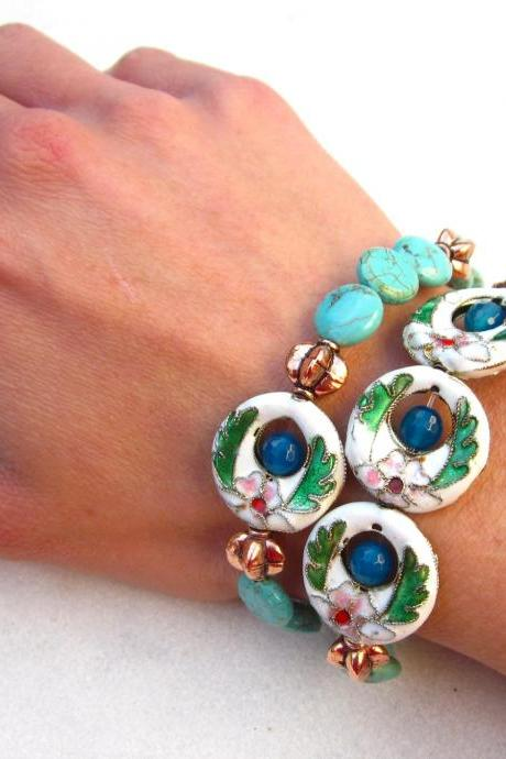 Bollywood colorful stretch bracelets with cloisonne, turquoise, copper and agate beads